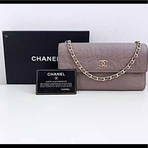 CHANEL CHAIN CAMELLIA WALLET